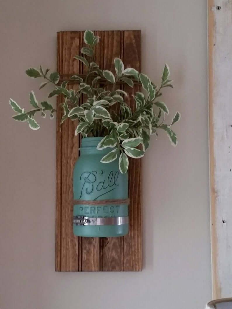 Mason Jar Metal and Wood Wall Art