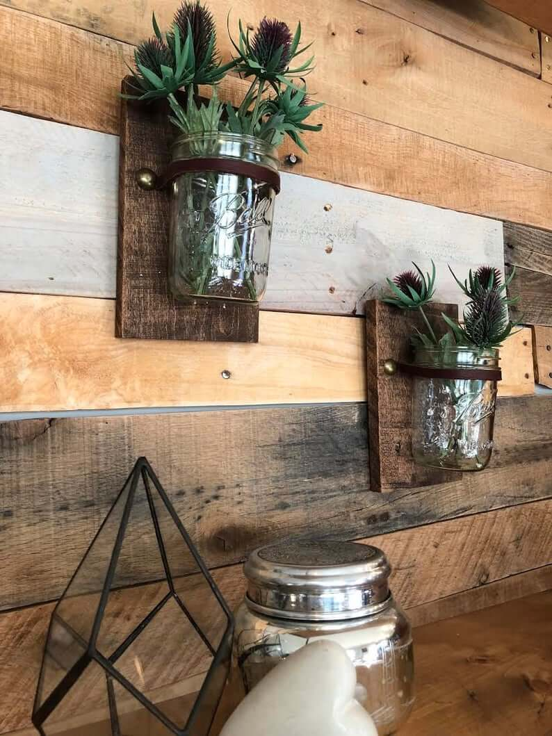 Rustic Squares and Leather Holders for Jars