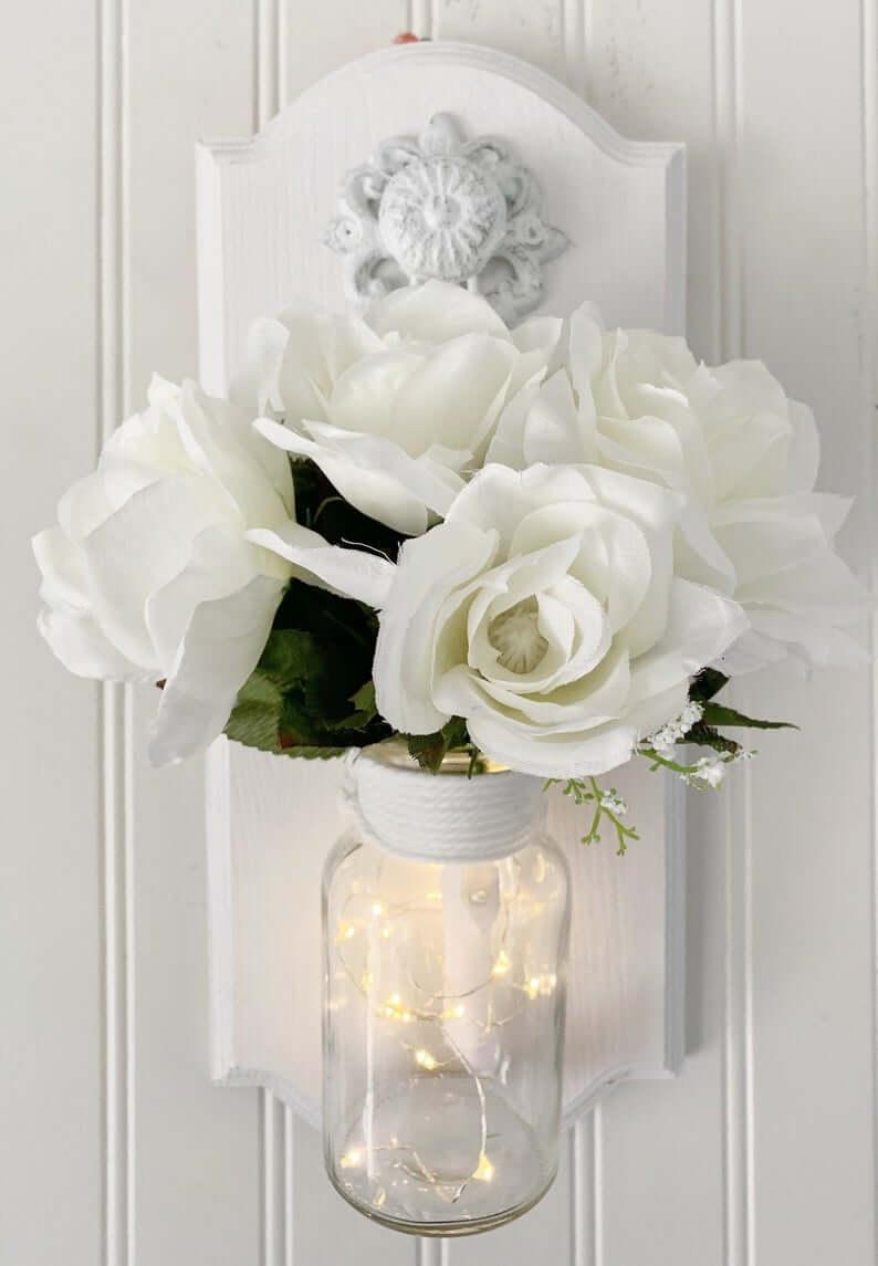 Classic White Bouquet Filled Mason Jar Art