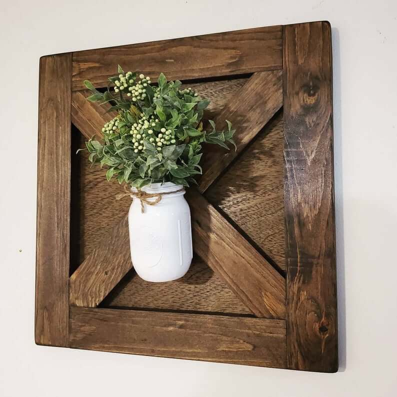 Wooden Cross Panel Board with Mason Jar