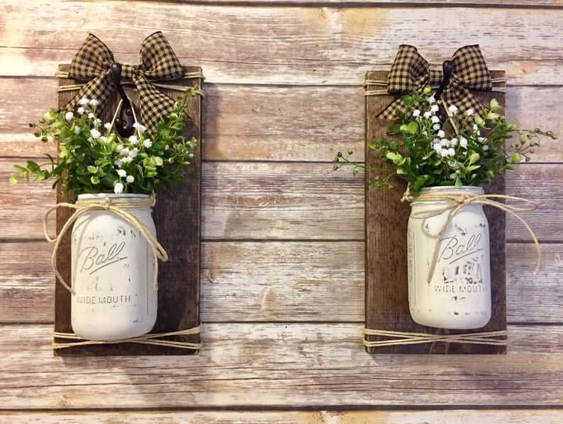 Rustic Country Charm Bow with Mason Jar