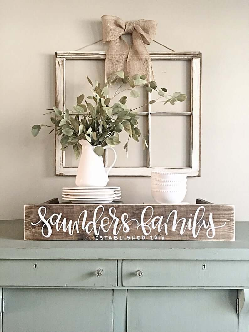 Rustic Farmhouse Family Sign Dining Room Display