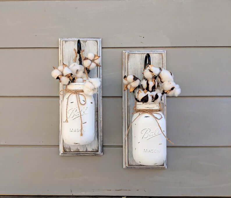 Neutral Distressed White Farmhouse Mason Jar Decor