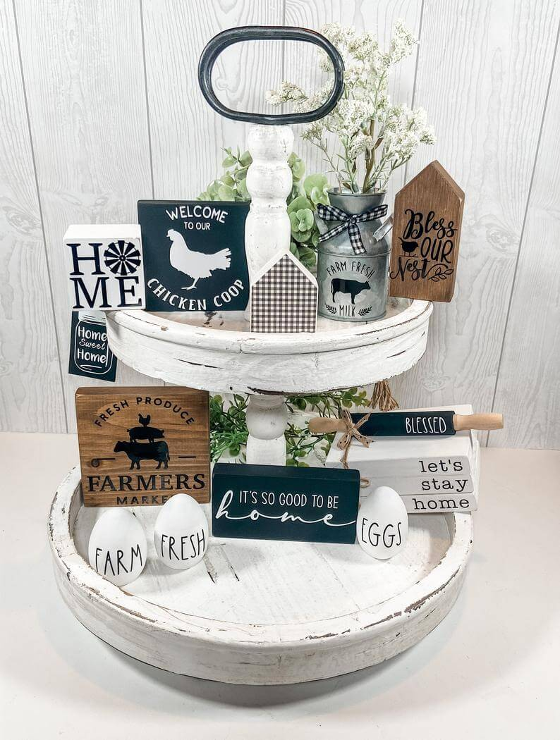 Tiered Tray Full of Rustic Charm