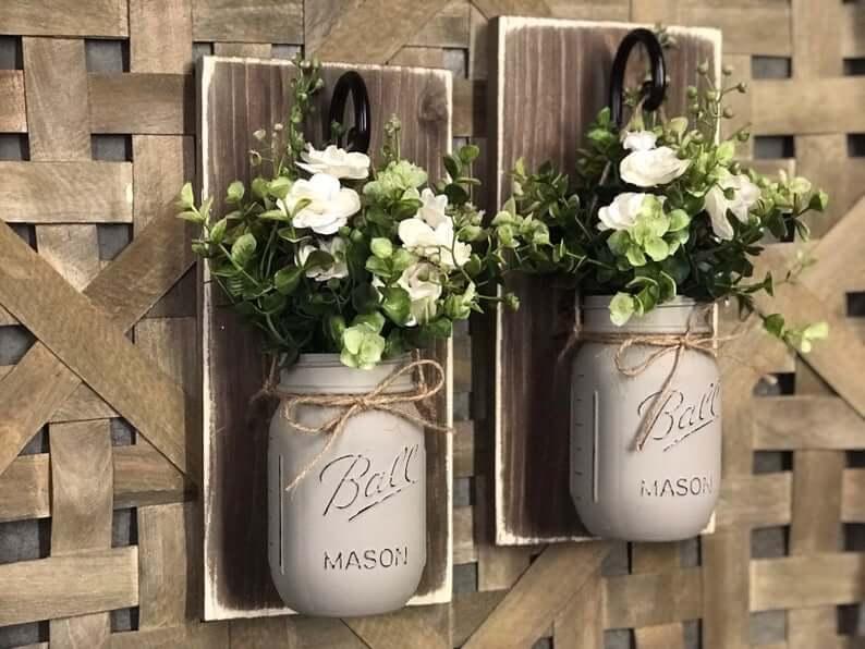 Distressed Brown Mason Jar Wall Hanger