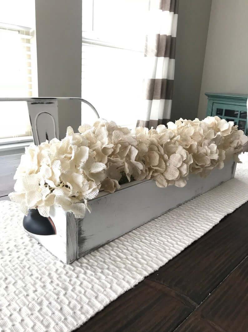 Wooden Flower Box of Burlap Hydrangeas