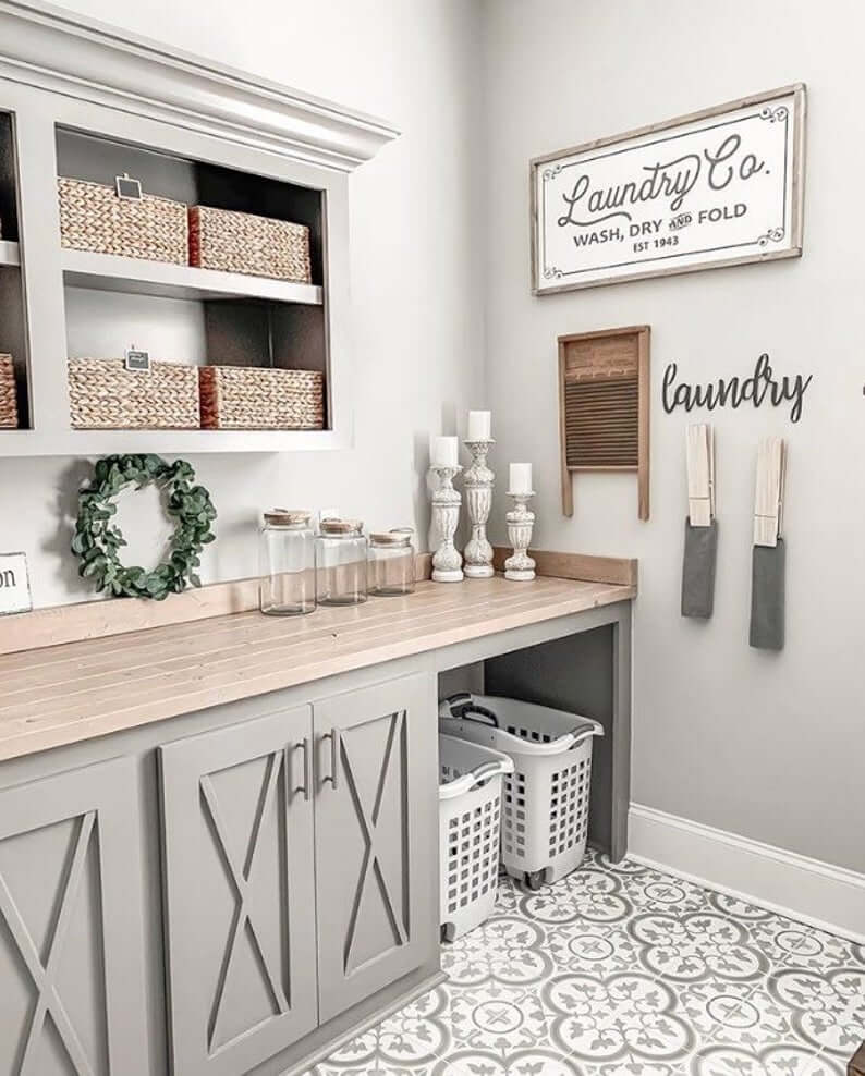 Laundry Station Rustic Farmhouse Wall Sign