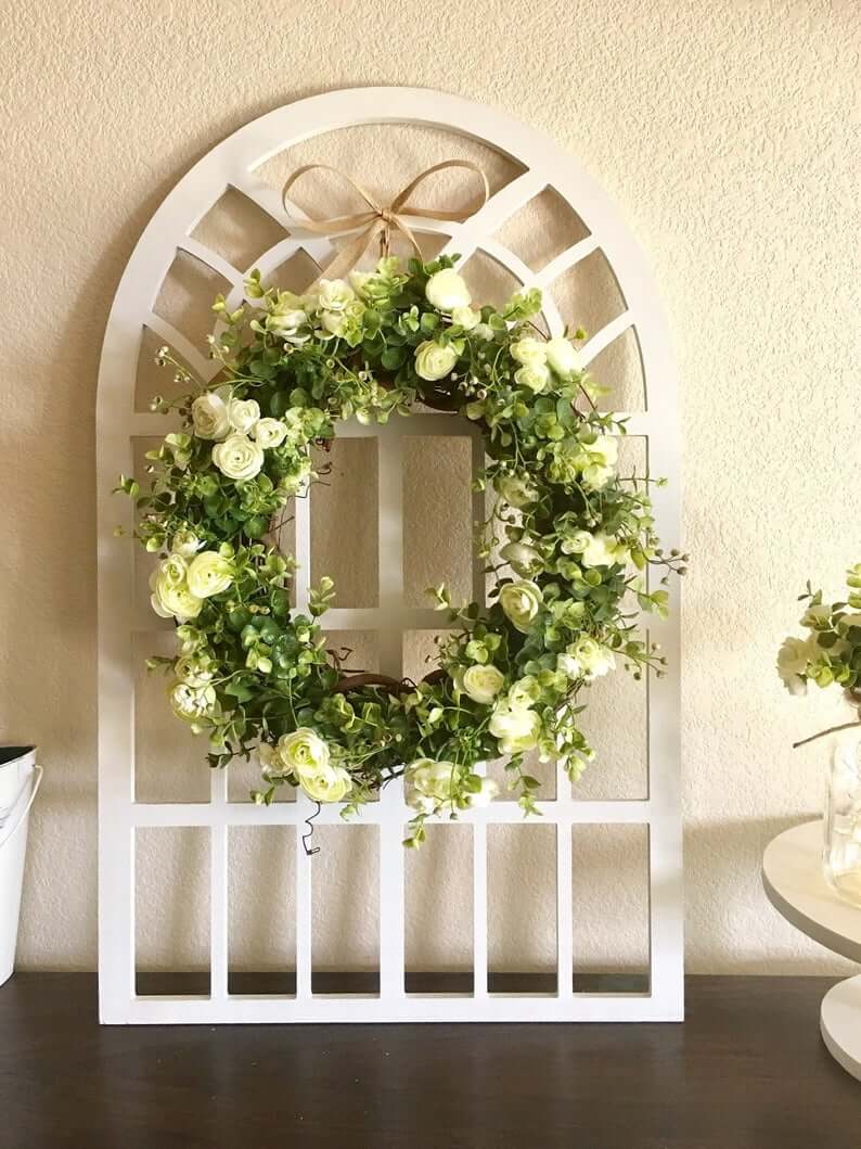 Cathedral Window Pane and Wreath Home Decoration