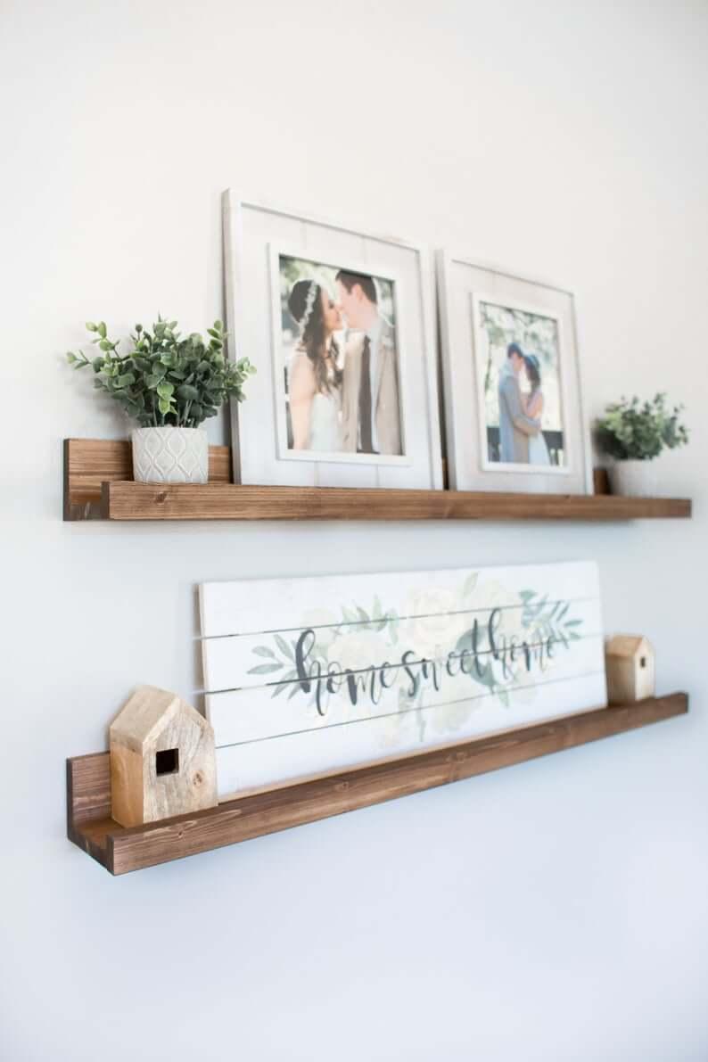 Rustic Wooden Shelf Set for Decorative Displays