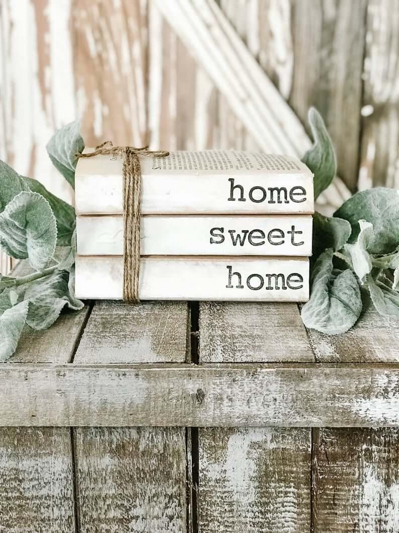 Decorative Home Sweet Home Vintage Book Trio
