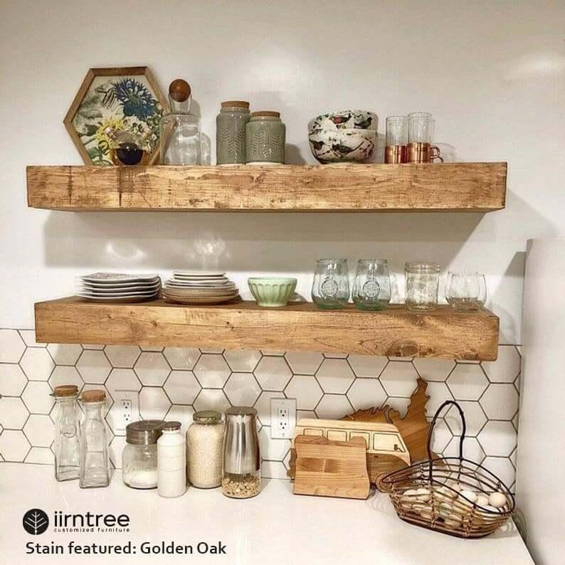 Large and Chunky Live Edge Wood Shelf