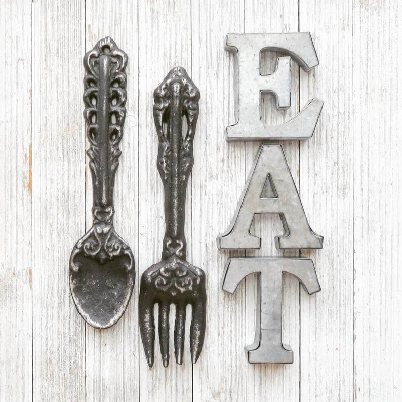 Distressed Fork and Spoon Kitchen Wall Art