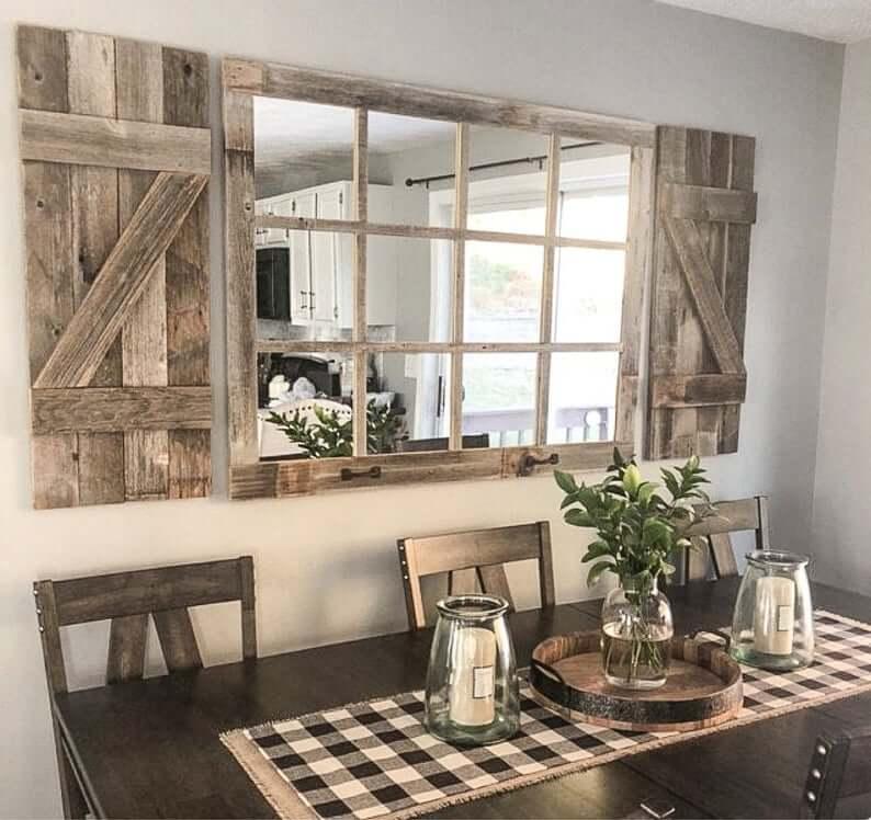 Rustic Barn Wood Shutters and Window Mirror