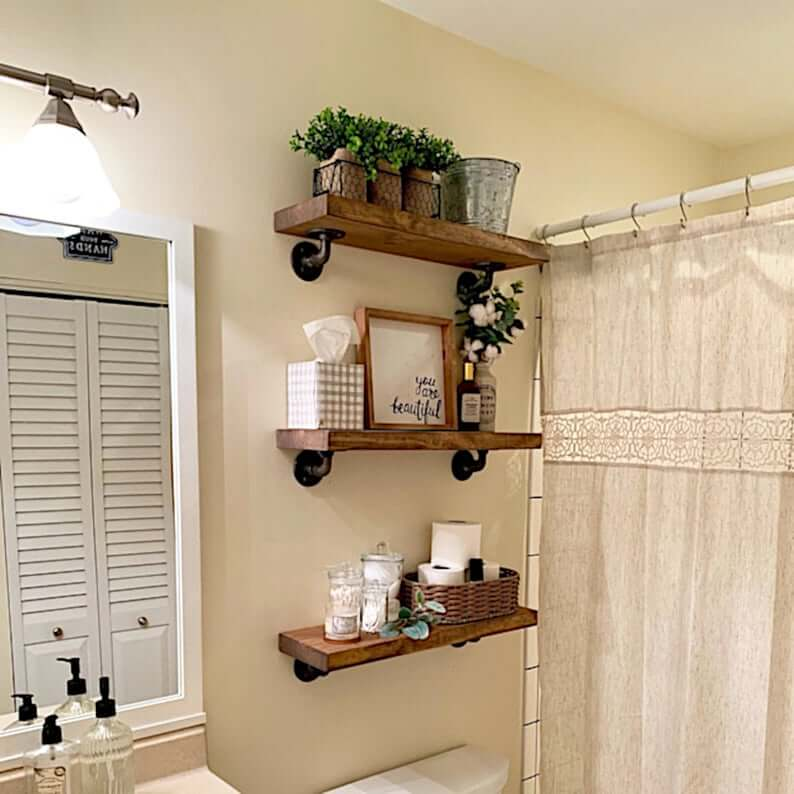 Industrial Pipe and Rustic Wood Shelf Set