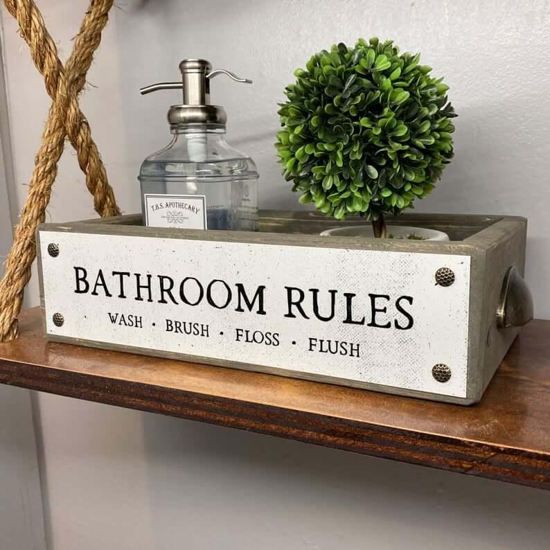 Decorative Bathroom Rules Toilet Top Box