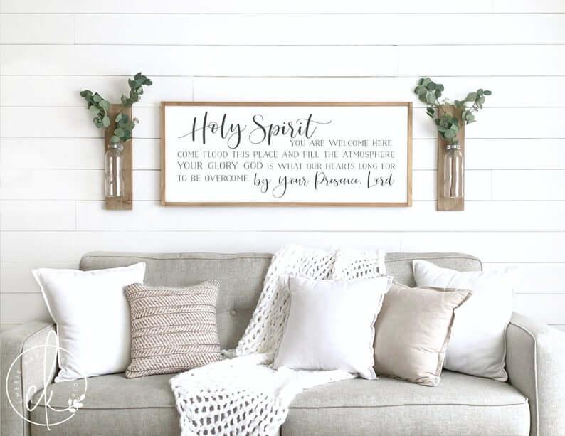 Modern Farmhouse Spiritual Christian Song Lyric Sign
