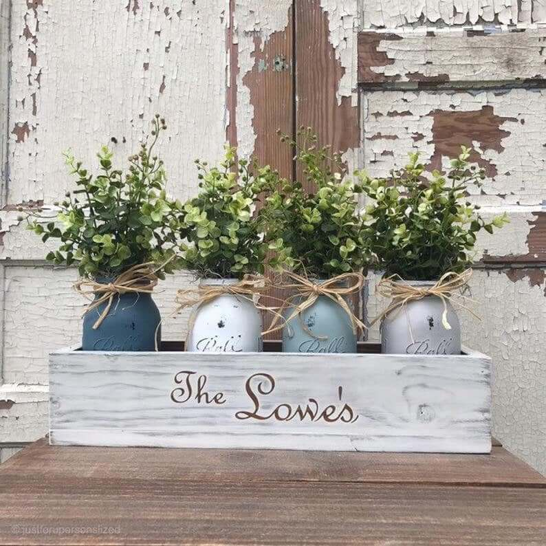 Distressed White Personalized Wooden Flower Box