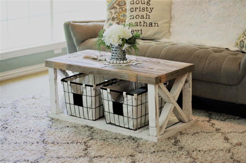 Rustic Farmhouse Coffee Table with Storage Bins