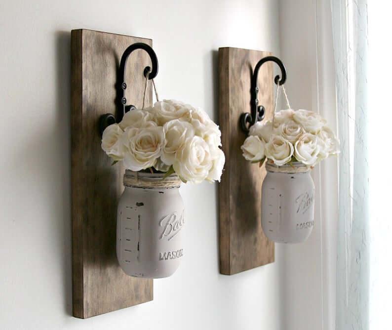 Hanging Painted Mason Jar Vases on Hooks