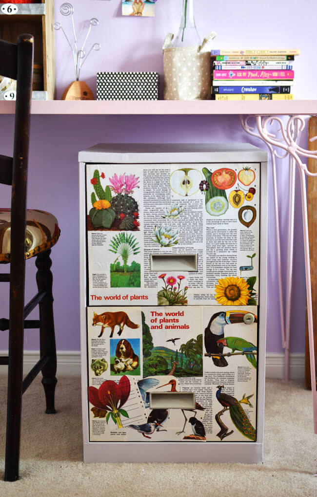 Book Page Filing Cabinet Makeover