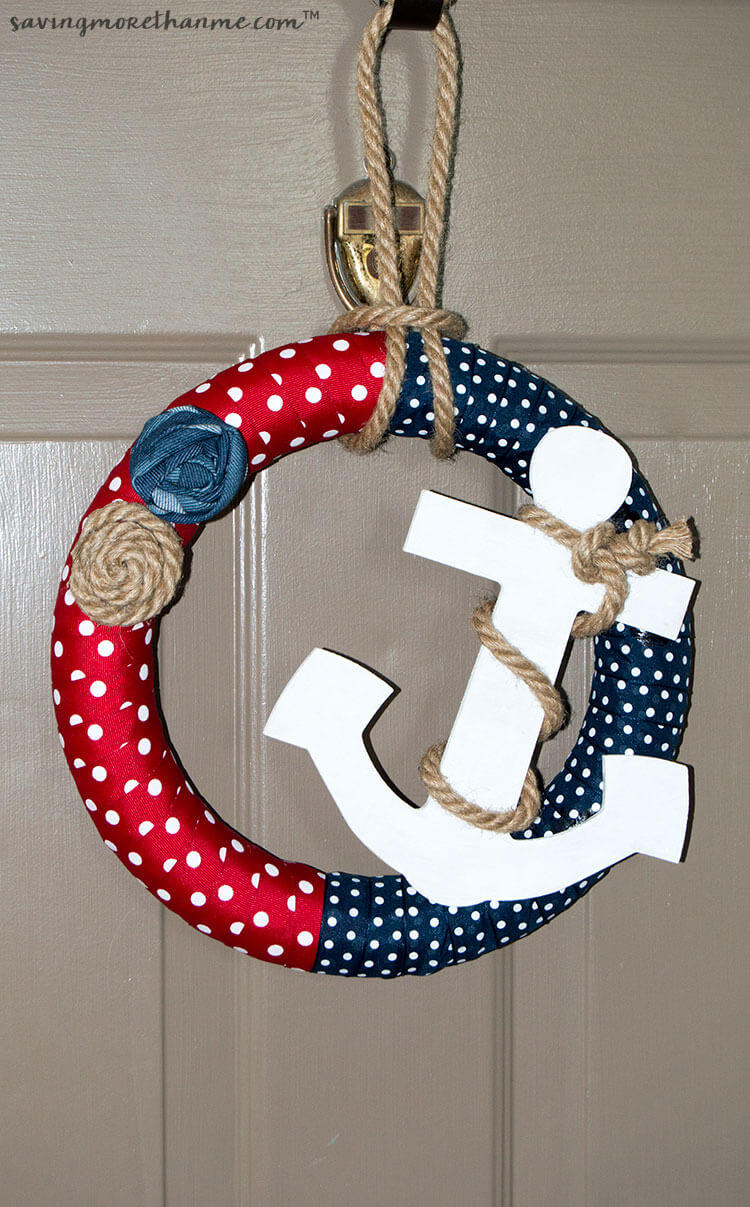 Red and Blue Anchors Away Nautical Wreath