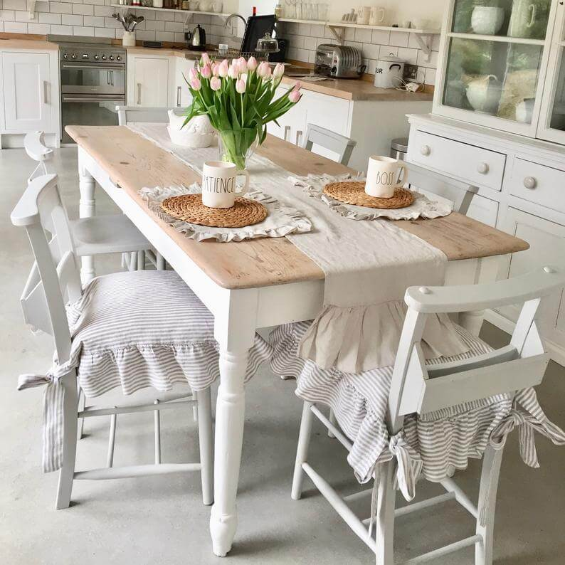 Ruffled Linen Dining Room Chair Covers
