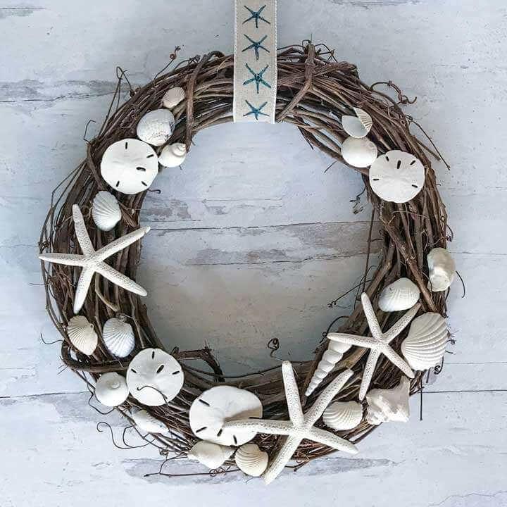 Grapevine Sea Shells and Stars Nautical Wreath