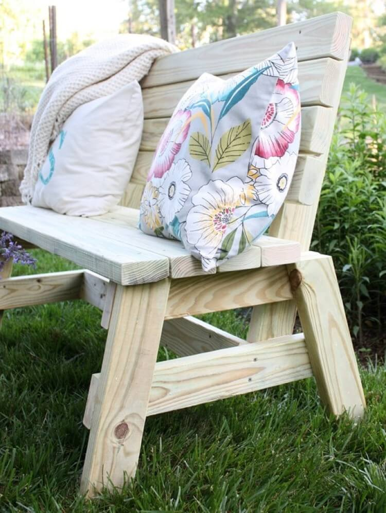 Painted and Stripped Picket Fence Bench
