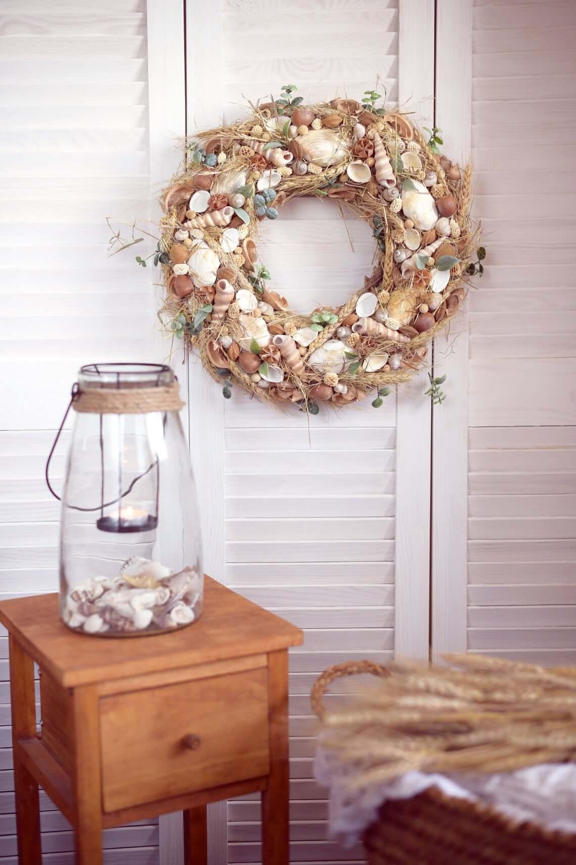 Splendid Seashell, Plumes, and Greenery DIY Wreath
