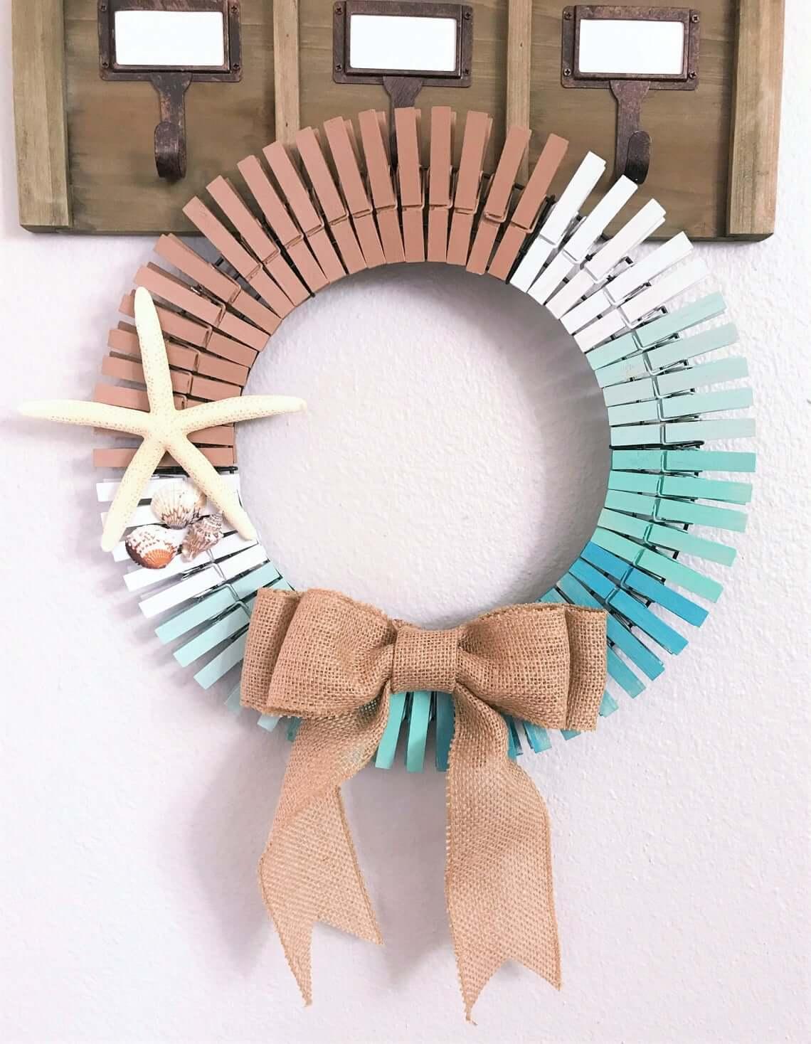 Sand and Sea Beach Themed Clothespin Wreath