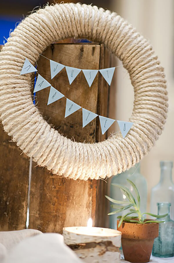 Just Married Nautical Rope Wrapped Wreath