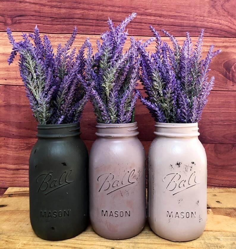 Painted Mason Jar Artificial Planter Set