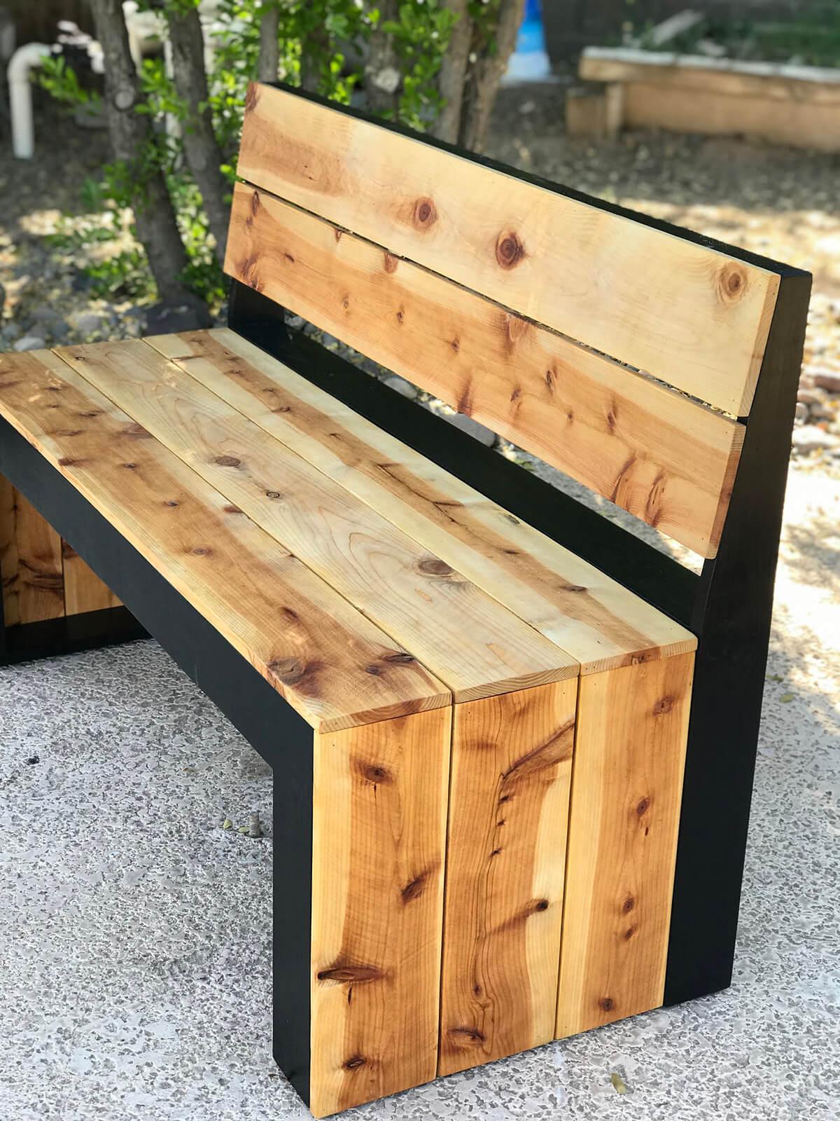DIY Modern Bench with Back