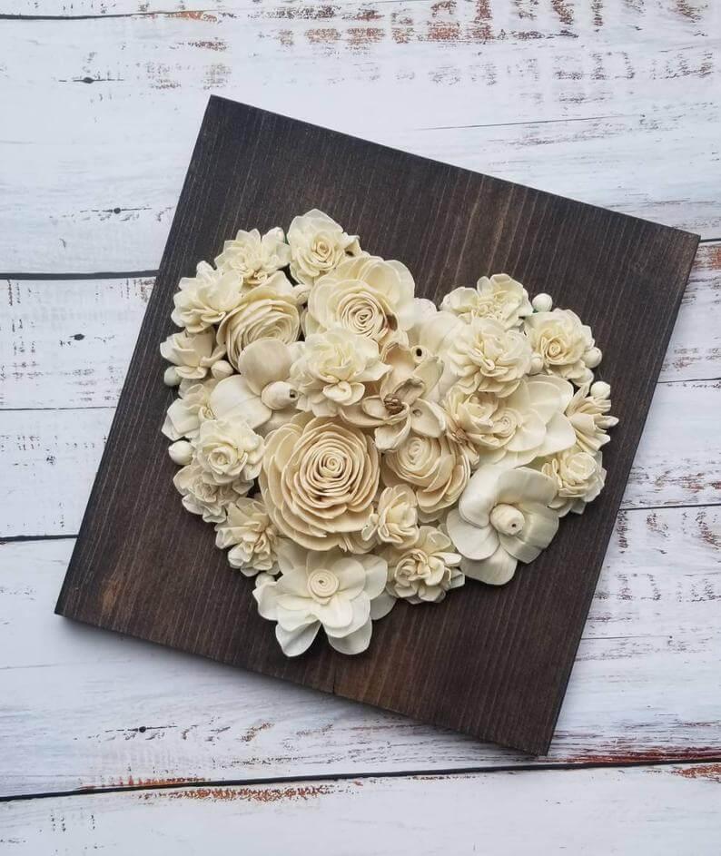 Sola Wood Flower 3D Heart Sign