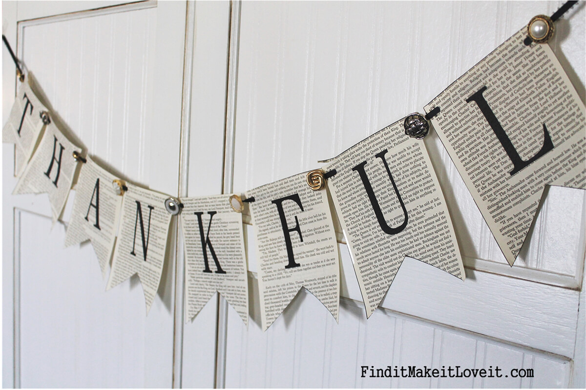 """""""Thankful"""" Book Page Celebration Banner"""