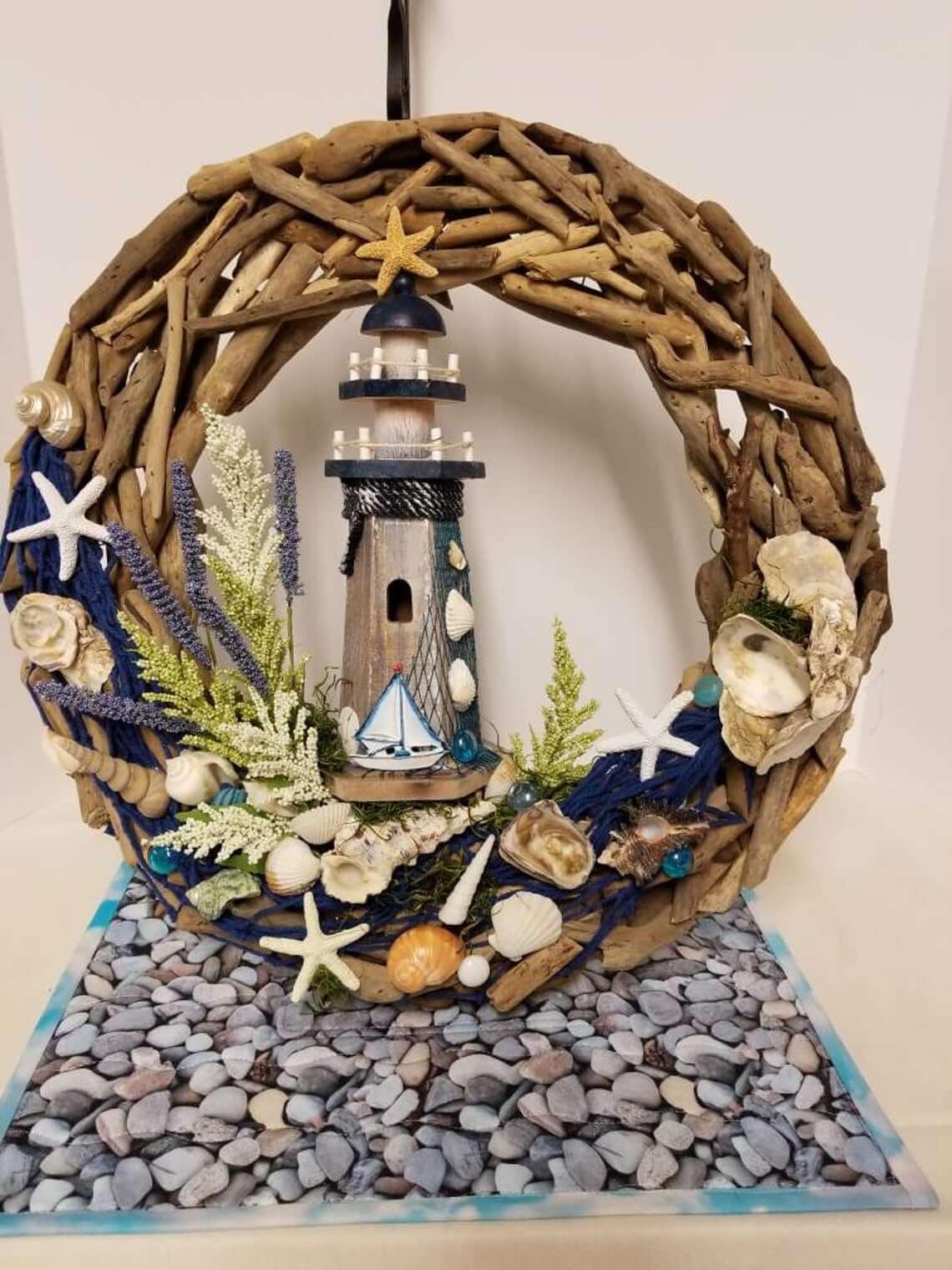Nautical Lighthouse, Driftwood, and Seashell Wreath