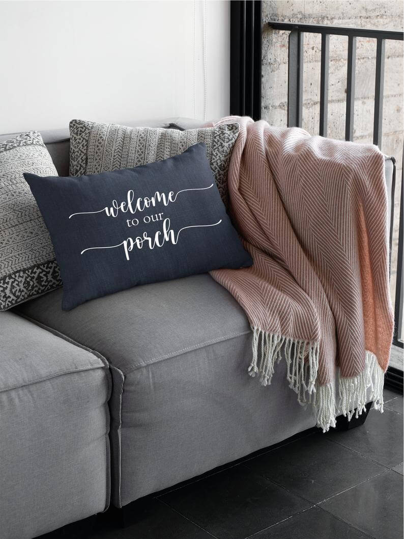 Welcome to Our Porch Throw Pillow