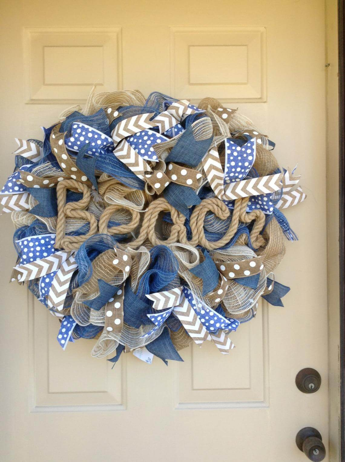 Blue and Brown Beach Scripted Rope Wreath