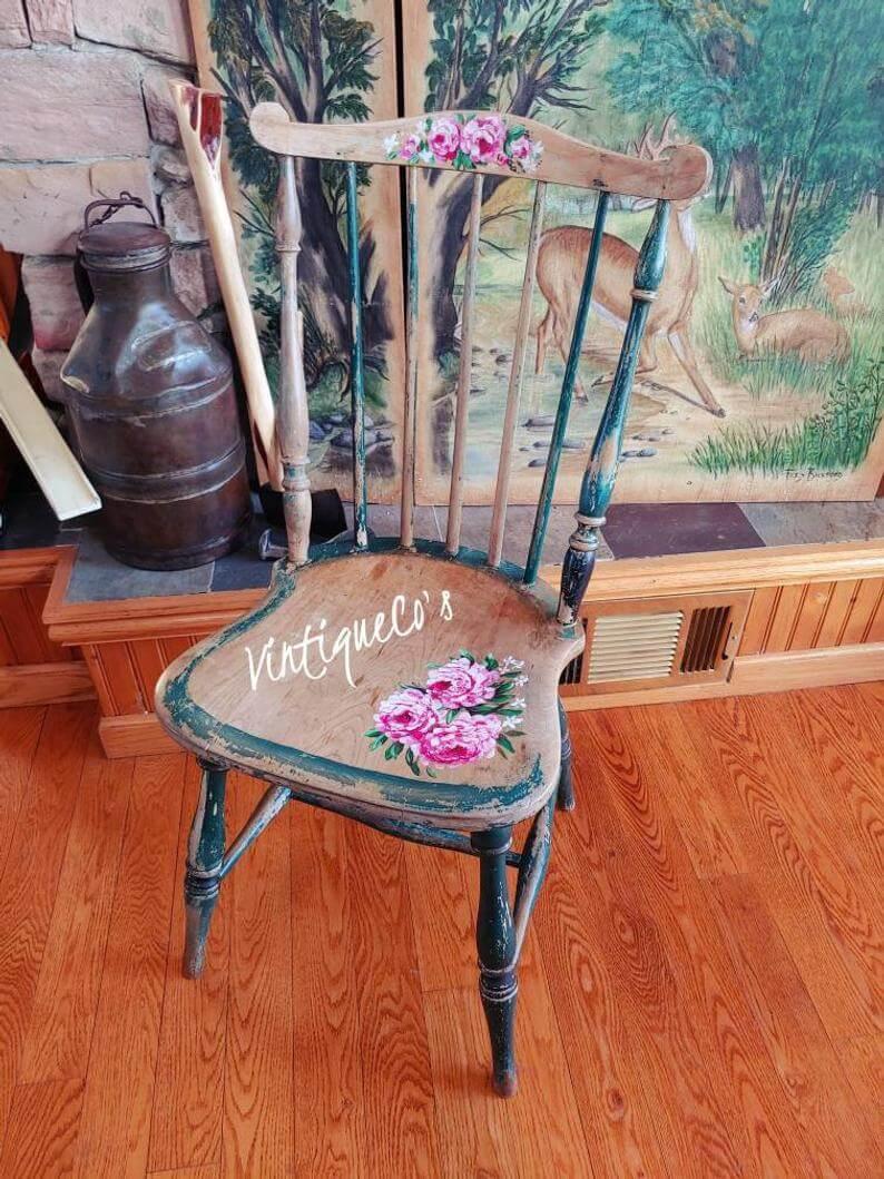 Antiqued Hand Painted Farmhouse Chair