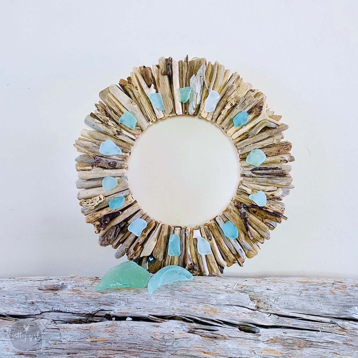 Sea Glass Sunburst DIY Driftwood Wreath
