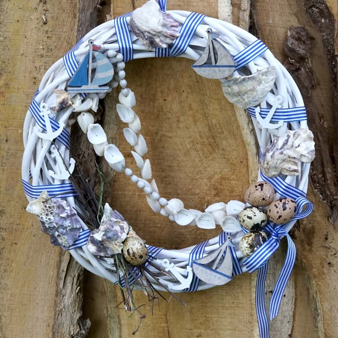 Blue and White Boat and Anchor Wreath