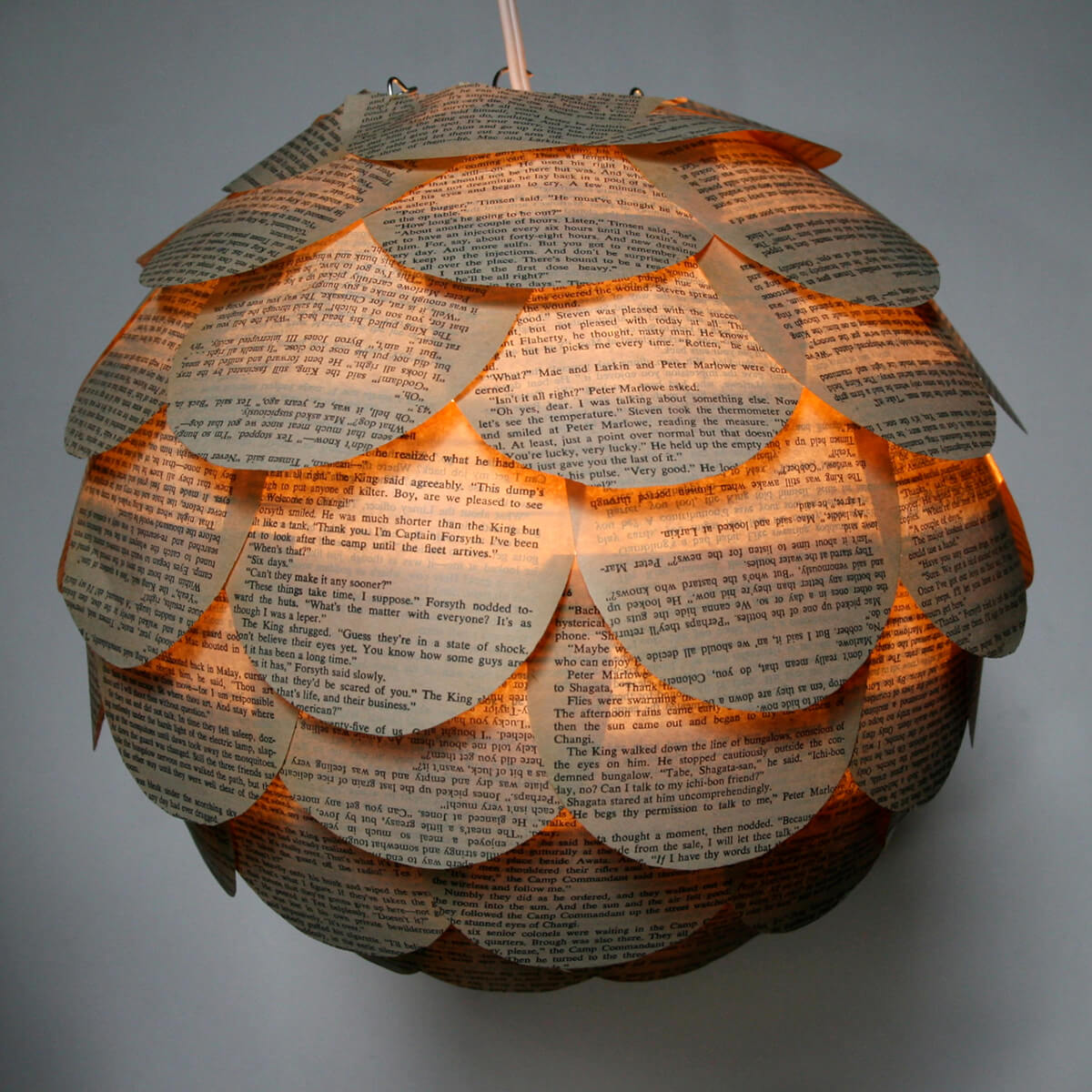 Stunning Book Pages Pendant Lighting