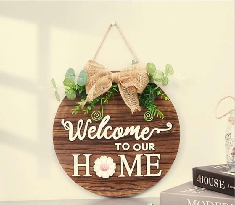 Welcome Wooden Wreath Door Hanger