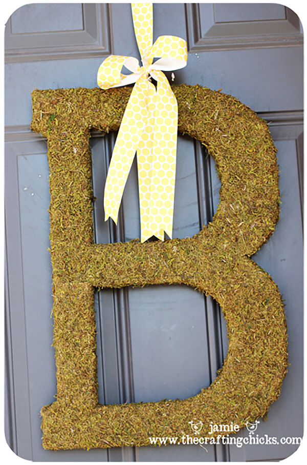 Earthy and Brown Textured Letter with Ribbon Door Hanger