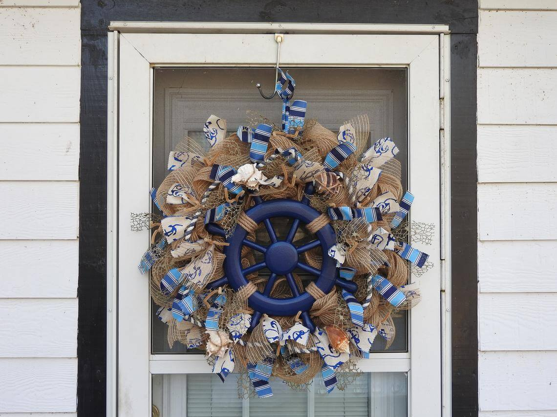 Anchors and Helm Nautical Blue Wreath