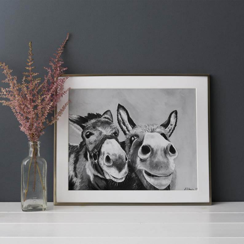 Black and White Donkey Print