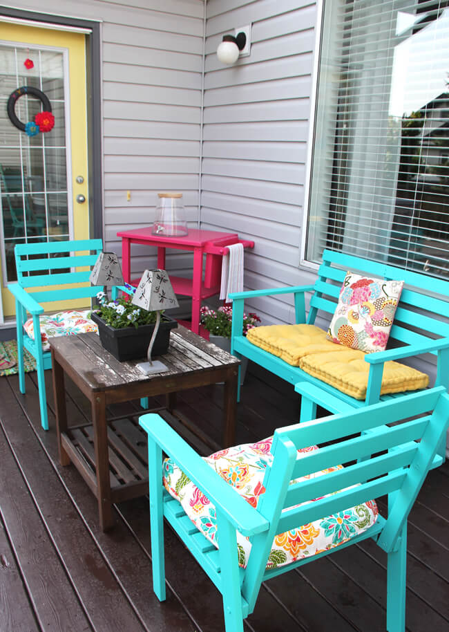 Pop of Color Painted Patio Furniture Set