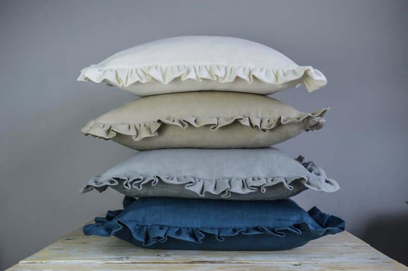 Classic Linen Ruffle Cushion Cover