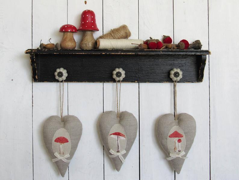 Vintage Linen Farmhouse Hanging Hearts