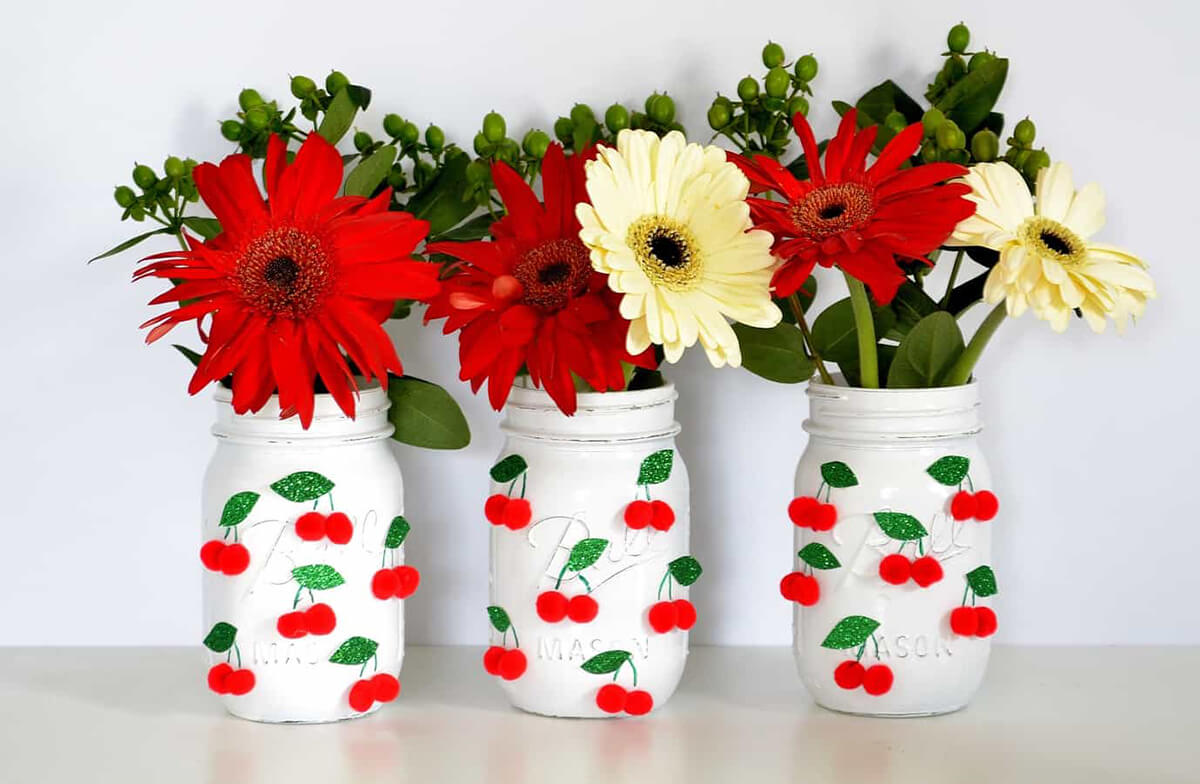 Red and White Mason Jar Centerpieces